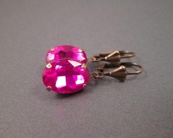 Rhinestone Earrings, Fuschia Glass Stones, Brass Dangle Earrings, FREE Shipping U.S.