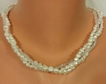 Triple Strand Crystal and Freshwater Pearl Necklace
