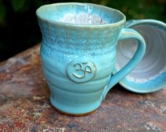 Ceramic Stoneware Pottery Mug with Yoga OM Namaste Sun Salute Morning