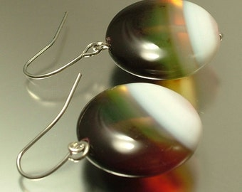 Handmade jewelry silver plated and banded white brown agate earrings - jewelry jewellery UK seller