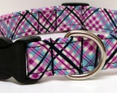 Must be Purple Plaid Handmade Dog Collar