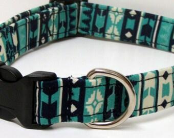 Navy Blue and Mint Green Printed Handmade Dog Collar