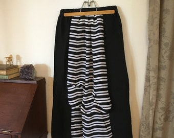 Women's bustle skirt -- Pirate Skirt -- Altered Couture -- Steampunk - Black and White Stripes -- Edwardian Inspired -- Upcycled --Plus size