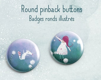 Spring in the village - 2 pinback button badges