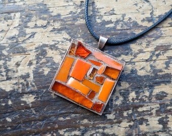 Happy Orange Mosaic Pendant with Copper Bezel