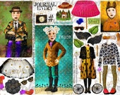 ART TEA LiFE Portrait People Paper Dolls Collage Sheet digital file printable download decoupage clip art scrapbook journal page tag card
