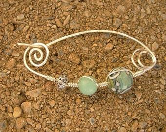 Silver Aquamarine Shawl Pin Hand Wrapped Fibula Shawl Pin