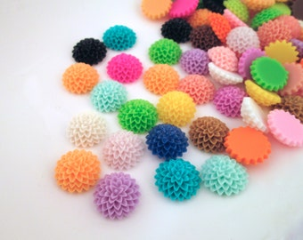 10 multicolor 15mm dahlia cabochons