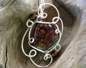 Smoldering Embers Natural Fire Agate Silver Wire Pendant