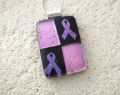 Pink Ribbon, Breast Cancer, Fused Glass Jewelry,Dichroic Jewelry, Cancer Awareness, Glass Necklace, Pink Black Jewelry, Necklace  111515p101