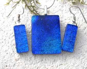 Deep Blue Necklace and Earrings, Dichroic Set, Fused Glass Jewelry, Dangle Drop Earrings, Dichroic Earring, Silver Necklace,  070816ps103