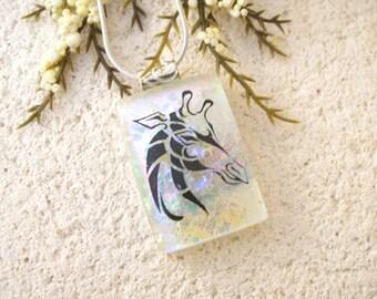 Giraffe Necklace, Dichroic Fused Glass Jewelry, Dichroic Jewelry, Silver Necklace, Safari Jewelry, Glass Necklace, Glass Jewelry, 012616P100