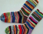 Hand Knitted Socks Ladys Size 7.5 - 9  Patchwork