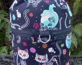 Cat Knitting bag, drawstring bag, knitting in public bag, small project bag, Day of the Dead Cats, Kipster