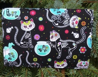 Cat Wallet on a String, security wallet, travel wallet, passport wallet, Day of the Dead Cats