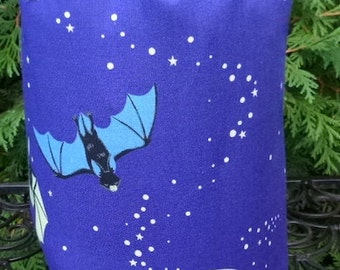 Bat Drawstring bag, WIP bag, knitting project bag, Beatrix the Bat, Suebee