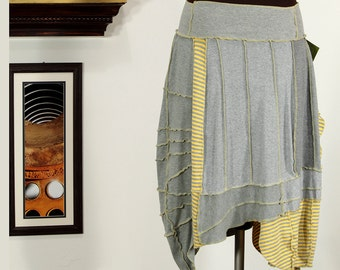 striped sweet gray and yellow upycled skirt