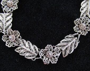 Vintage Sterling Silver Filigree Lacy Wirework Link Bracelet