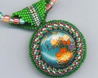 Vintage Enamel Enameled Statement Necklace . Beaded/Beadwoven Floral Pendant . Green Bead Embroidery -Pink Flowers by enchantedbeads on Etsy