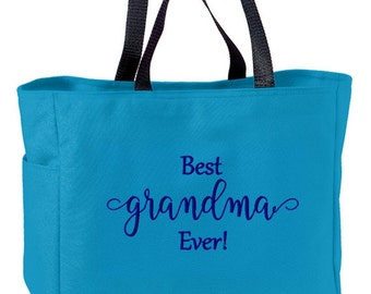 Best Grandma Ever Embroidered Tote Bag