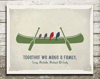 CANOE Art Print - Custom Family Wall Art Gift - Birds in a Canoe - Custom Colors with as Many Birds as You Would Like