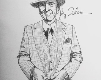 Gay Talese 9x12 original ink line drawing