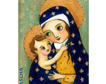 Mother and Child MARY and Baby JESUS iconic religious PRINT poster from painting by Tascha