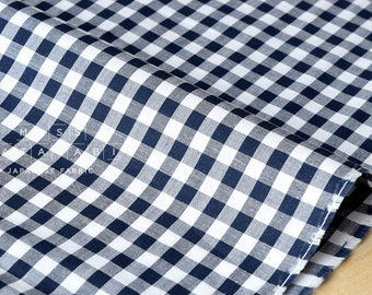 Japanese Fabric - woven check - navy blue - 50cm