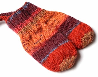 Orange Thumbless Baby Mittens. Corded Baby Mitts No Thumbs. Infant Hand Warmers. Knit Winter Mittens With or Without String. 3 to 6 Months