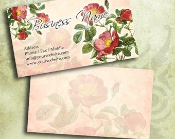 Red Roses Flower Business Card Template Digital INSTANT DOWNLOAD 3.5 x 2 Inches Calling Card Vintage Flowers (BC12)