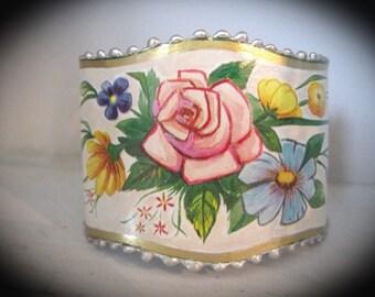 Repurposed Tin Cuff Bracelet. Vintage TIn Container. Bohemian Cuff Bracelet