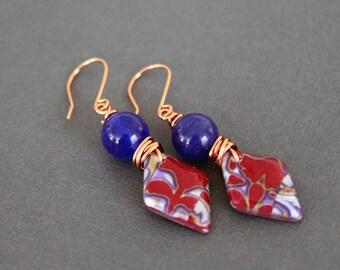 Bohemian dangle earrings. Colorful Boho jewelry. Polymer clay mokume gane Diamond shaped. Blue jade.Lightweight red blue Copper