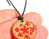 Day fused Dichroic Glass Pendant featuring flowers  Hawaiian Jewelry Surfer Necklace by zulasurfing