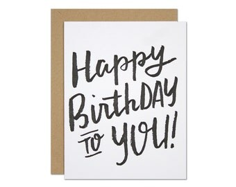 Birthday Brush Letterpress Card