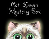 CAT MYSTERY BOX - Blind Bag of Cat Gifts, Great Cat Birthday Gift, Great Cat Lady Gift, Cat T-shirt and More