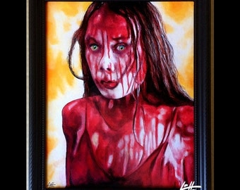 Carrie - Original Drawing - Horror Stephen King Blood Pig Red Dark Art Vintage 70s Prom Night High School Telekinetic Scary Gothic Pop Art