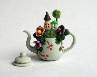 Miniature  Cute Fairy House Scene In Teapot  OOAK by C. Rohal