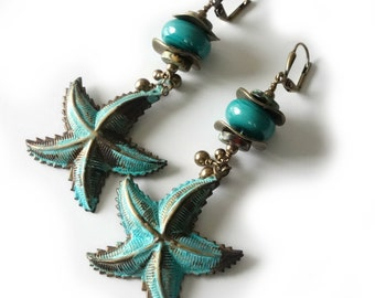 Starfish Lampwork Earrings, Verdigris Patina, Antique Brass, Swarovski Pearls, Beach Earrings, Turquoise, Teal, Aqua, Ocean, Beaded Jewelry