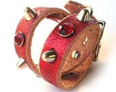 Small Red Leather Dog Collar with Spikes and Gems, to fit a 10-13 Neck, Eco-Friendly Leather, Made in USA, Seattle Handmade by Greenbelts