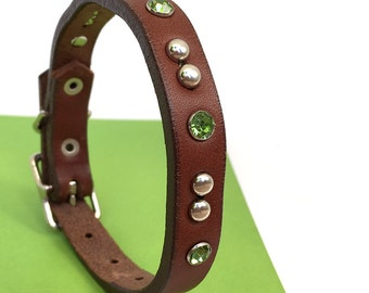 Milk Chocolate Leather Dog Collar with Silver Studs and Green Crystals, Chocolate Mint, Size XS-S to fit an 8-11 Neck, Extra Small Dog, OOAK