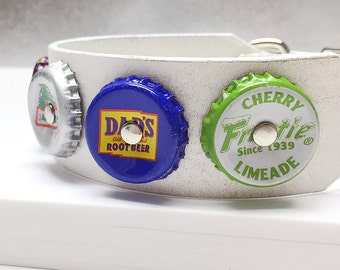 White Leather Dog Collar with Soda Pop Bottle Caps, Size S, to fit a 11-14in Neck, Small Dog, EcoFriendly, OOAK