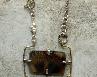 Square dendritic quartz necklace in textured silver and oxidized brass setting and silver chain