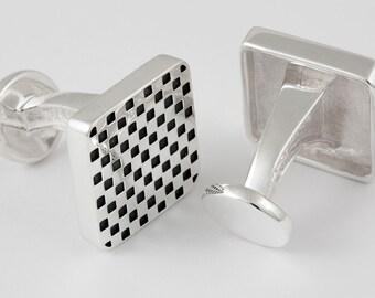 Checkerboard Cufflinks, Sterling Silver