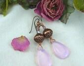 Rose Quartz Pink Opalite Teardrop and Copper Filigree Earrings