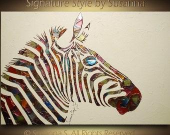 ORIGINAL Zebra Painting Abstract Art Modern metallic animals wall decor multi color texture palette knife impasto artwork 24x36 Made2Order