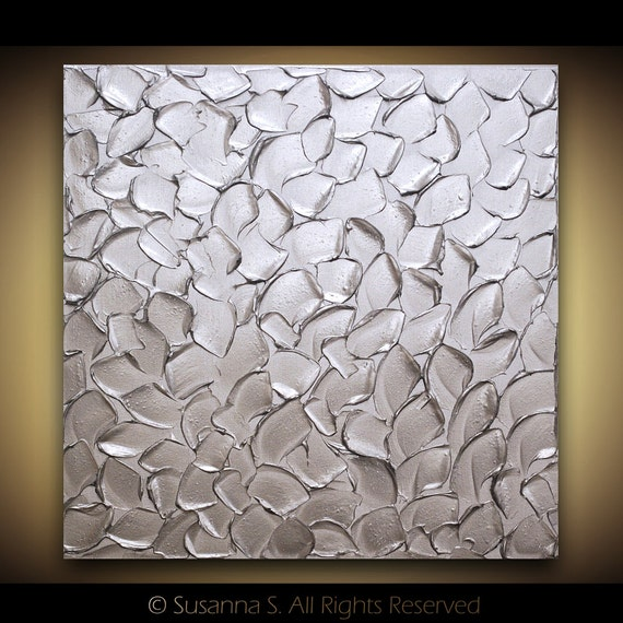 ORIGINAL Silver Abstract Painting Metallic Modern Palette knife Texture Oil Painting Large Home Decor Wall Art Canvas art MIX&MATCH Susanna