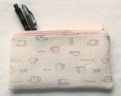 linen zipper pouch, coffee tea cappuccino print, coin purse, makeup cosmetic travel bag