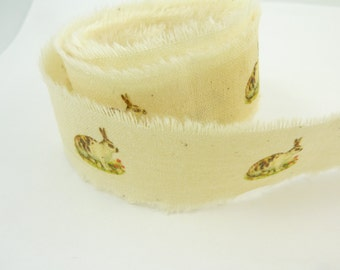 """Handmade Ribbon.  Vintage Rabbit Off White Handmade Frayed Cotton Ribbon.  50"""" or 127 cm long by 1"""" or 25 mm wide Ribbon."""