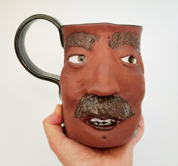 Face Mug - Stoneware Mug - Pottery Mug - Ceramic Mug - Coffee Mug - Funny Mug - Coffee Mug for Him - Unique Coffee Mug - Large Coffee Mug