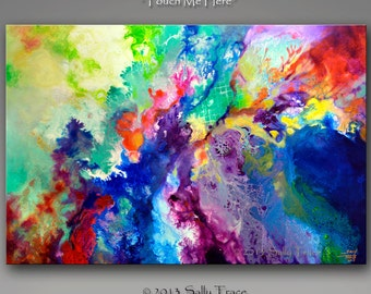 """Modern Abstract Canvas Giclee Print from my Original Abstract Fluid Painting """"Touch Me Here"""", 16x24 - 20x30 - 24x36 inches"""